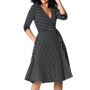 eShakti Lurex Stripe Jersey Knit Wrap Dress